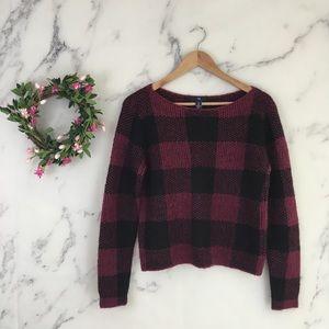 GAP Blurry Plaid Boxy Sweater In Garnet